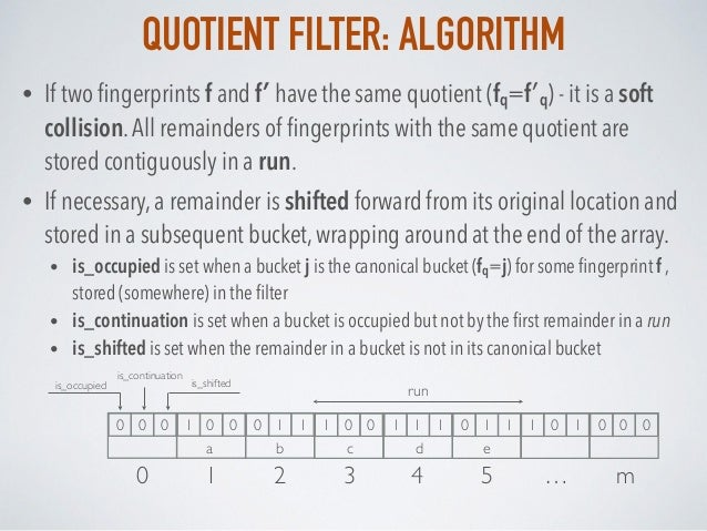 QUOTIENT FILTER: ALGORITHM • If two fingerprints f and f′ have the same quotient (fq=f′q) - it is a soft collision.All rema...