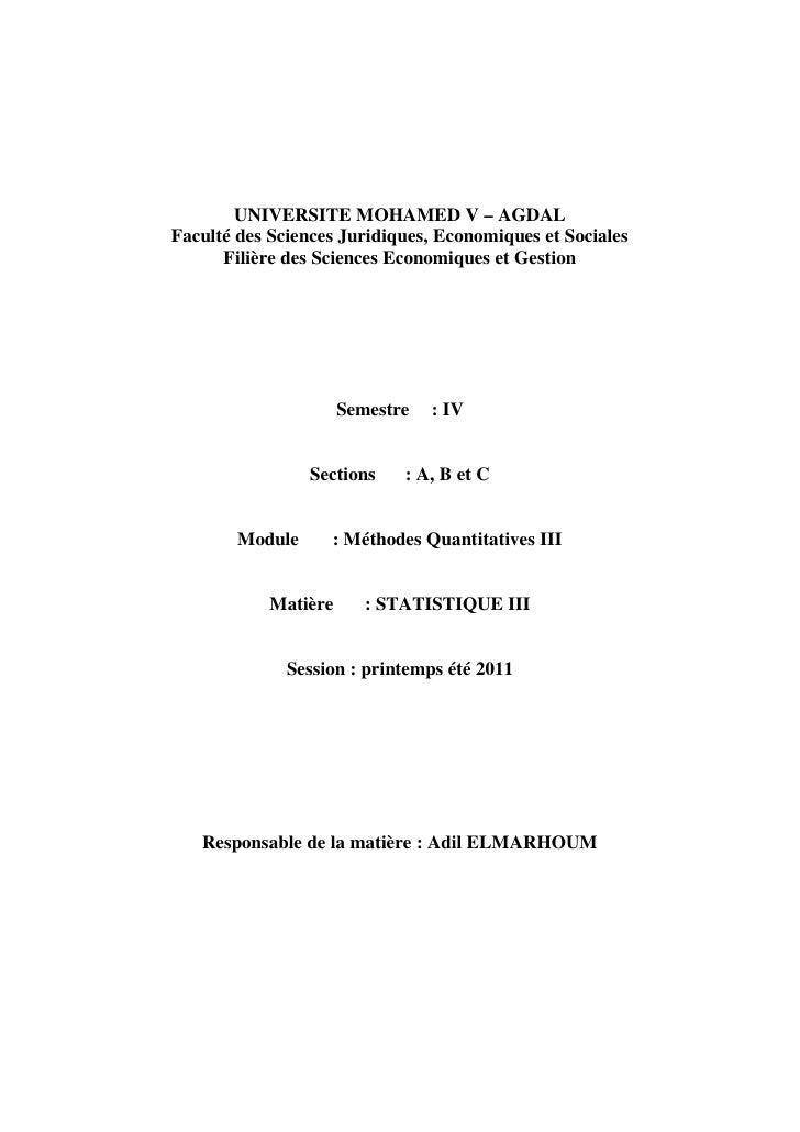 UNIVERSITE MOHAMED V – AGDALFaculté des Sciences Juridiques, Economiques et Sociales      Filière des Sciences Economiques...