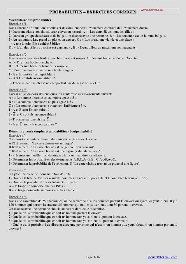 www.tifawt.com                              PROBABILITES – EXERCICES CORRIGESVocabulaire des probabilitésExercice n°1.Dans...