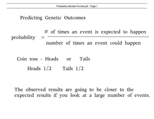 Probability, Mendel and Punnett Square