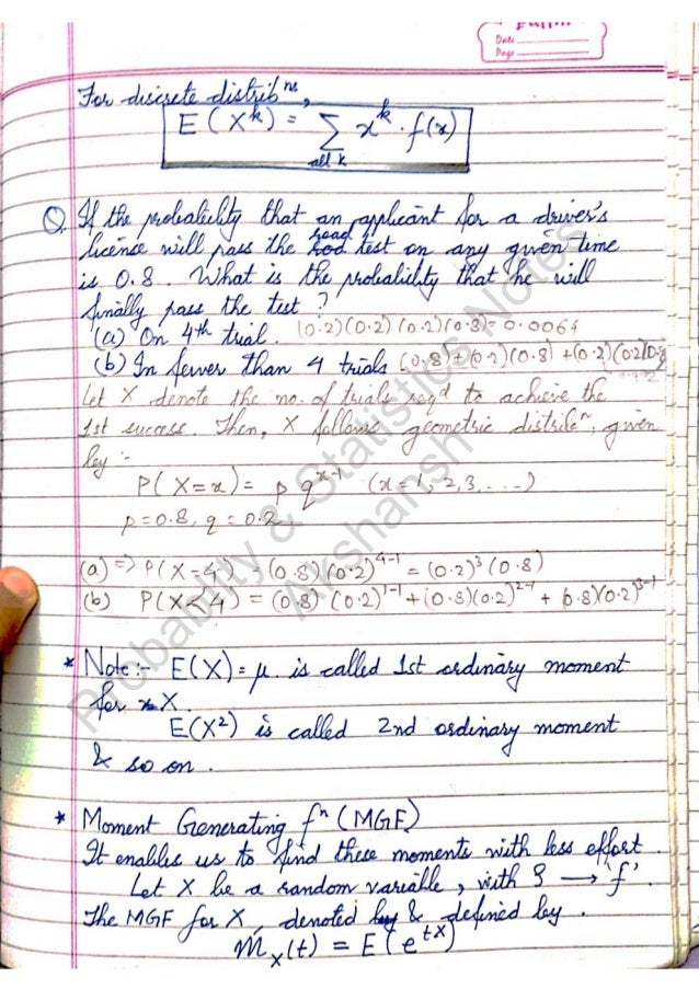 Statistics Notes 2nd Year