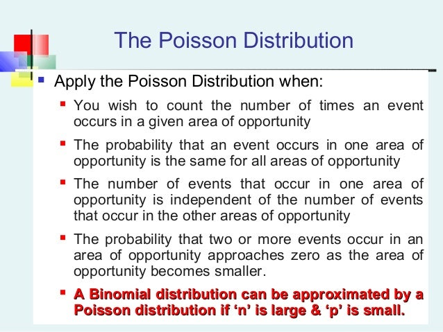 poisson distribution calculation of probabilities Returns the poisson distribution a common application of the poisson distribution is predicting the number of events over a specific time, such as the number of cars arriving at a toll plaza in 1 minute x required the number of events mean required the expected numeric value .