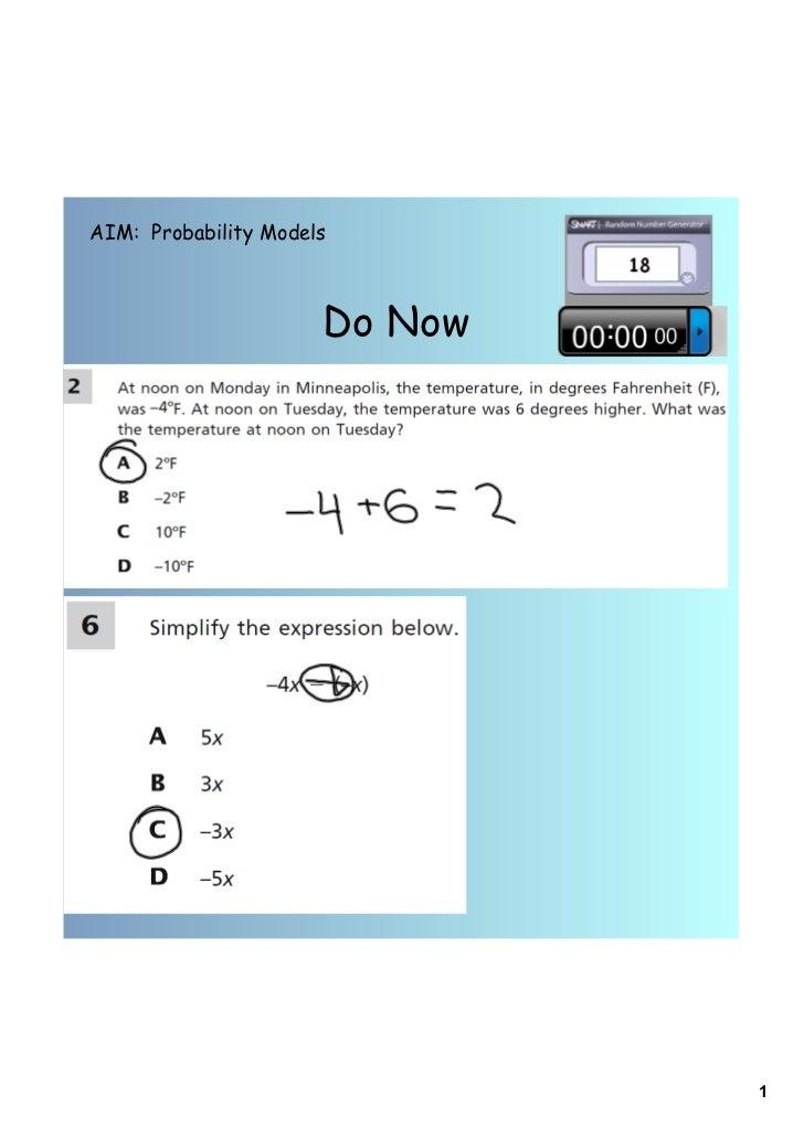 AIM: Probability Models                      Do Now                               1