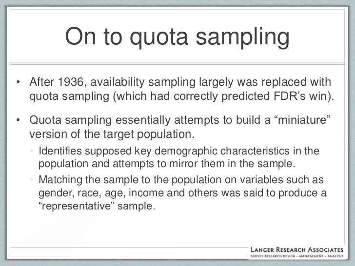 Probability Sampling and Alternative Methodologies