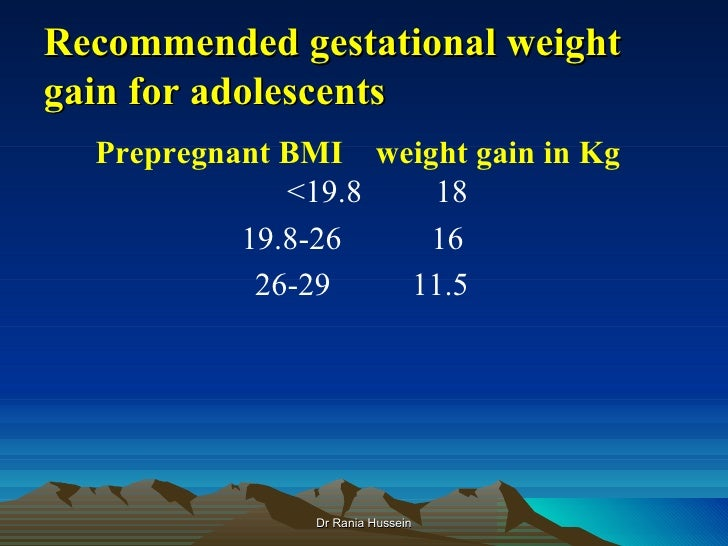 Recommended gestational weightgain for adolescents  Prepregnant BMI weight gain in Kg              <19.8   18           19...