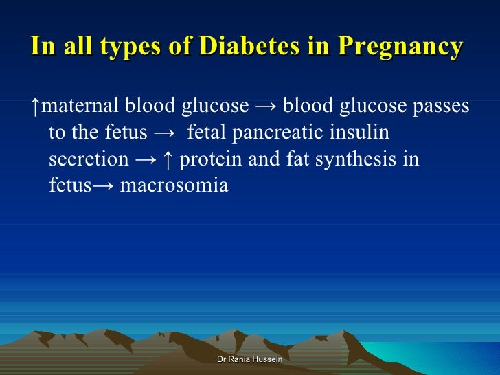 In all types of Diabetes in Pregnancy↑maternal blood glucose → blood glucose passes to the fetus → fetal pancreatic insuli...