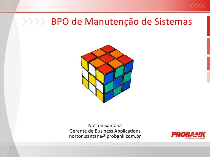 BPO de Manutenção de Sistemas Norton Santana Gerente de Business Applications [email_address]