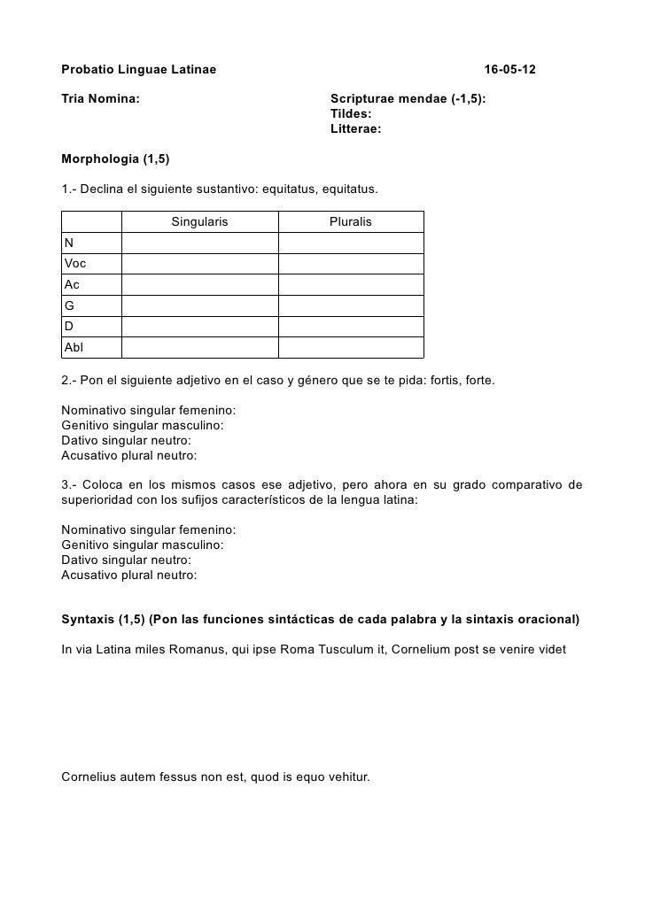 Probatio Linguae Latinae                                                     16-05-12Tria Nomina:                         ...