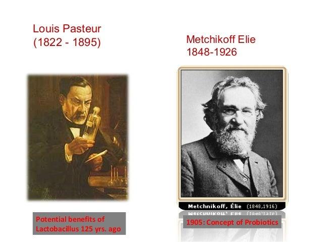 Louis Pasteur (1822 - 1895) Potential benefits of Lactobacillus 125 yrs. ago 1905: Concept of Probiotics Metchikoff Elie 1...