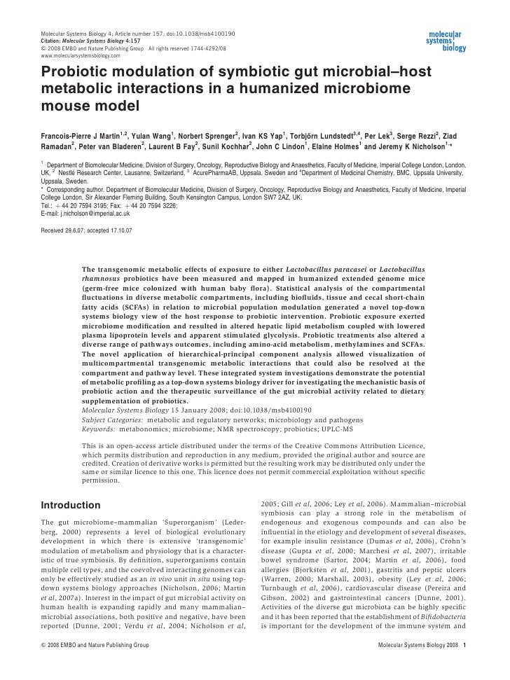 Molecular Systems Biology 4; Article number 157; doi:10.1038/msb4100190Citation: Molecular Systems Biology 4:157& 2008 EMB...