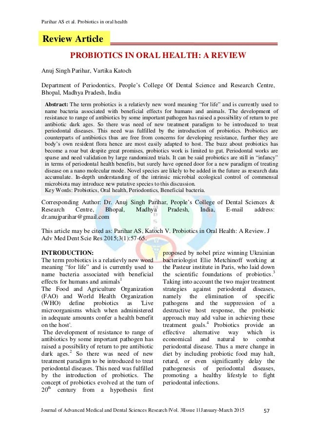 Parihar AS et al. Probiotics in oral health 57Journal of Advanced Medical and Dental Sciences Research |Vol. 3|Issue 1| Ja...