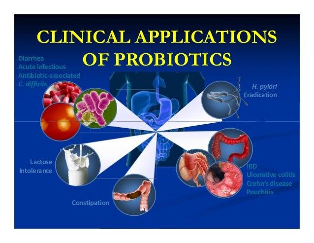 CLINICAL APPLICATIONS OF PROBIOTICS H. pylori Eradication Diarrhea Acute infectious Antibiotic-associated C. difficile IBD...