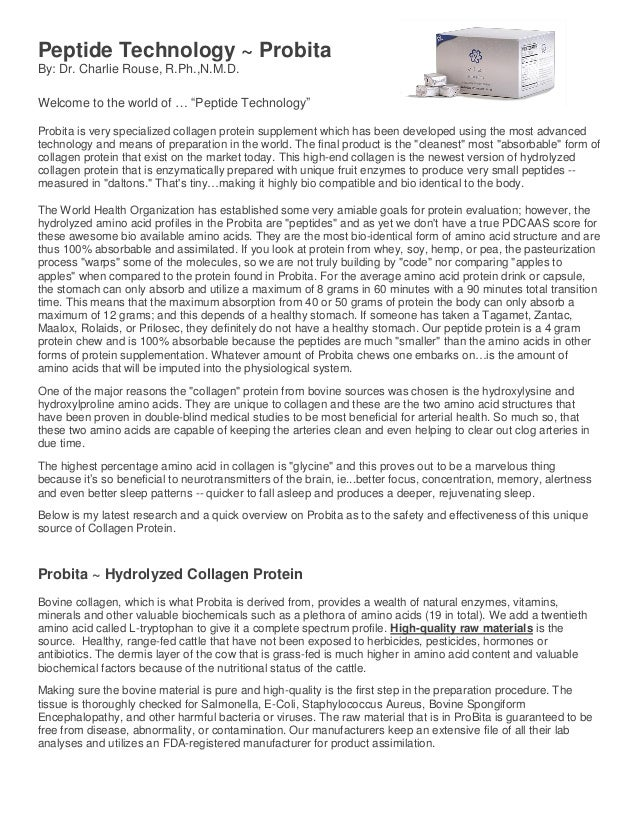 """Peptide Technology ~ Probita By: Dr. Charlie Rouse, R.Ph.,N.M.D. Welcome to the world of … """"Peptide Technology"""" Probita is..."""