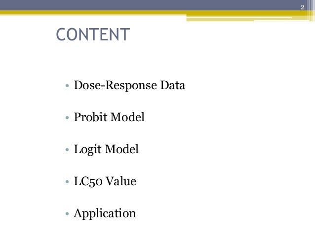 probit analysis and dose response relationship