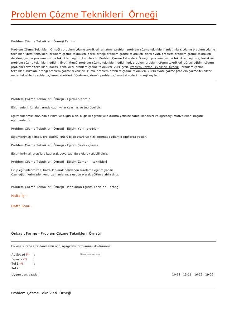 Problem Çözme Teknikleri ÖrneğiProblem Çözme Teknikleri Örneği TanımıProblem Çözme Teknikleri Örneği : problem çözme te...