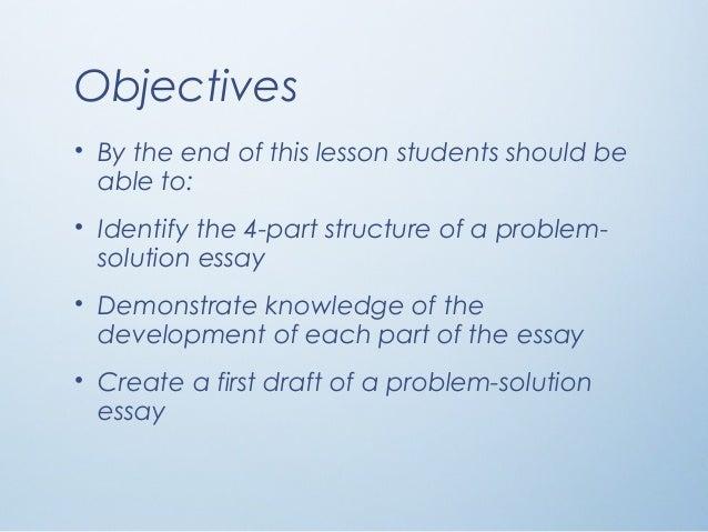 parts of a problem solution essay