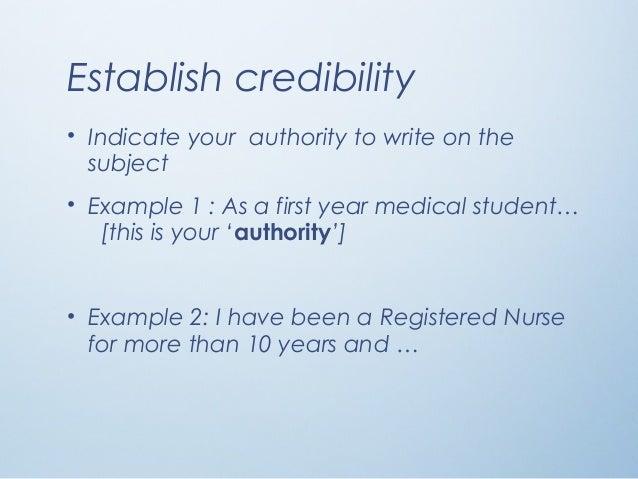 credibility establishing essay