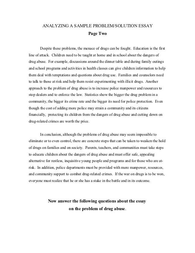 Problem Solution Exercises  Analyzing A Sample Problemsolution Essay  High School Persuasive Essay also What Is Thesis In An Essay  English As A World Language Essay