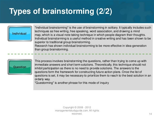 freewriting and brainstorming are methods of psychology