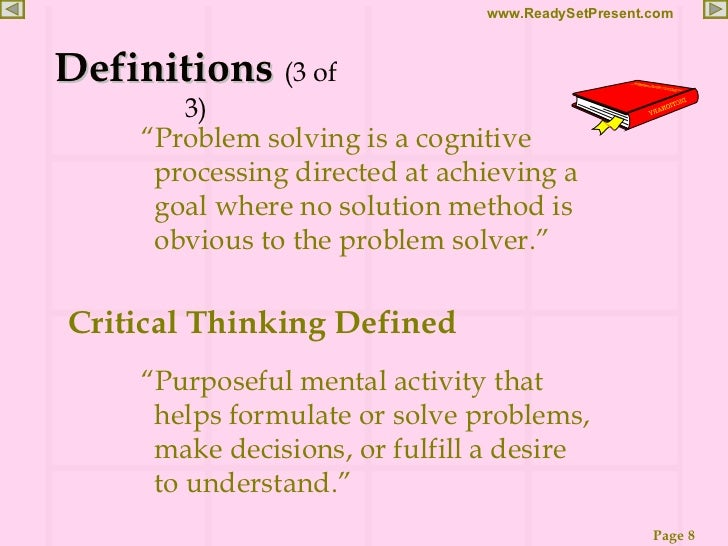 critical thinking and problem solving goals
