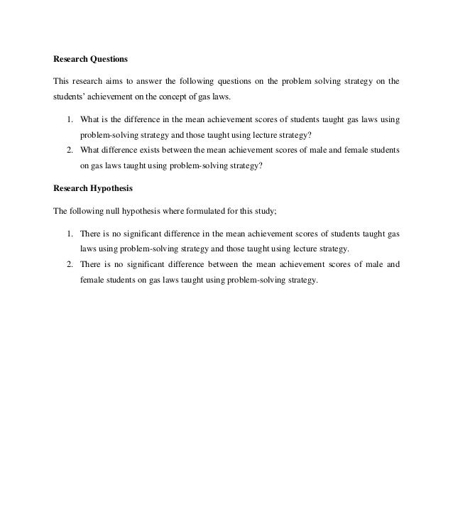Problem solving strategy and students' achievements on the