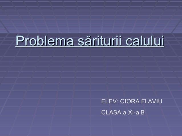 Problema săriturii calului  ELEV: CIORA FLAVIU CLASA:a XI-a B