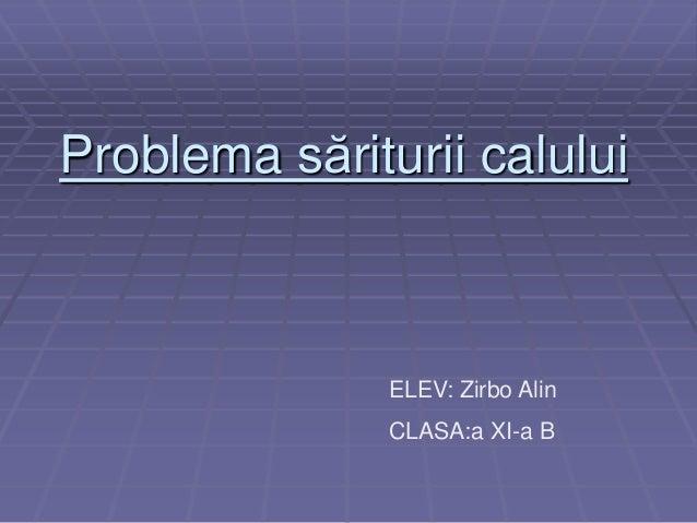 Problema săriturii calului  ELEV: Zirbo Alin  CLASA:a XI-a B