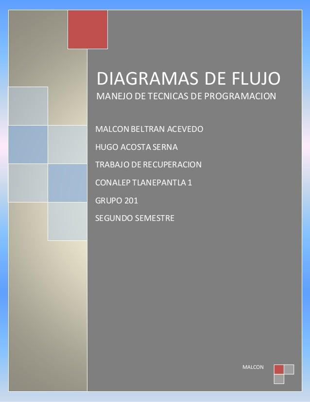 DIAGRAMAS DE FLUJO MANEJO DE TECNICAS DE PROGRAMACION MALCON MALCON BELTRAN ACEVEDO HUGO ACOSTA SERNA TRABAJO DE RECUPERAC...