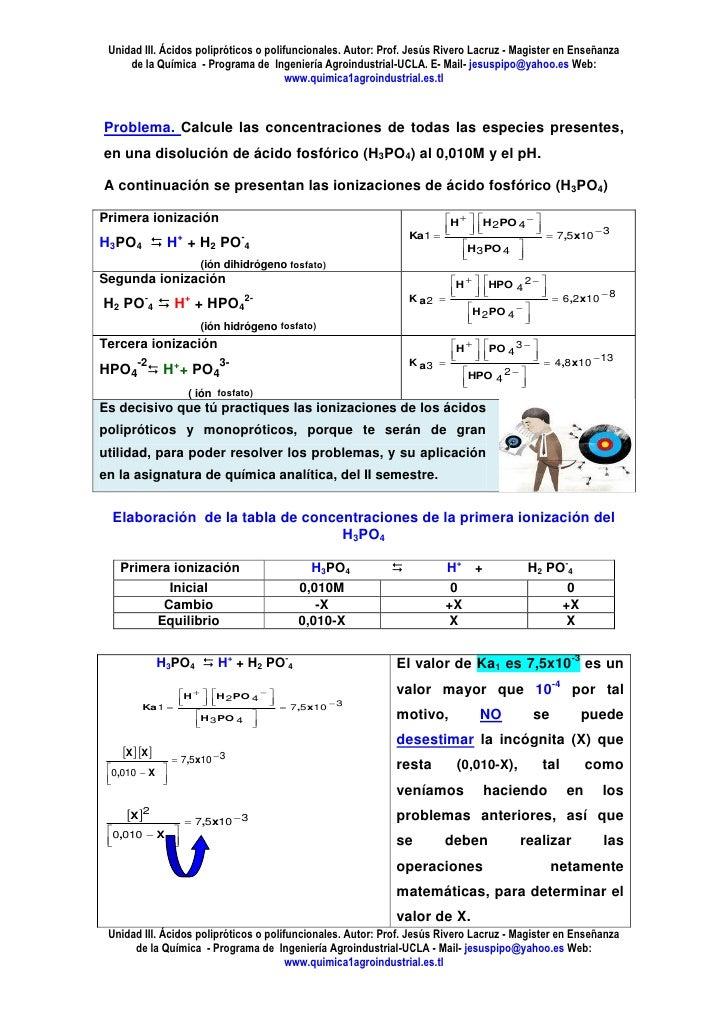 Unidad III. Ácidos polipróticos o polifuncionales. Autor: Prof. Jesús Rivero Lacruz - Magister en Enseñanza     de la Quím...