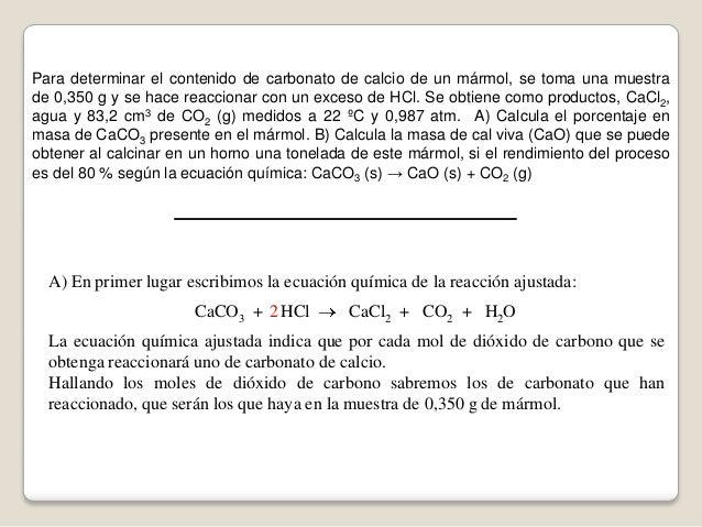 Problema de reacci n qu mica an lisis del carbonato y for Marmol formula quimica