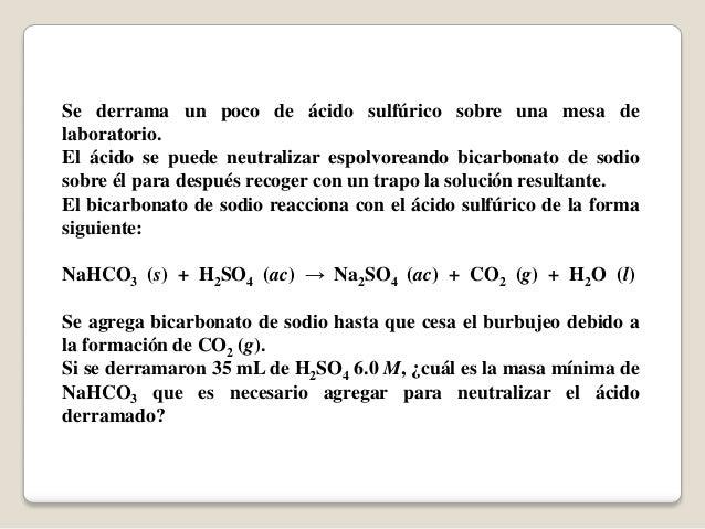 Problema De Reacción Química Derrame De ácido Sulfúrico