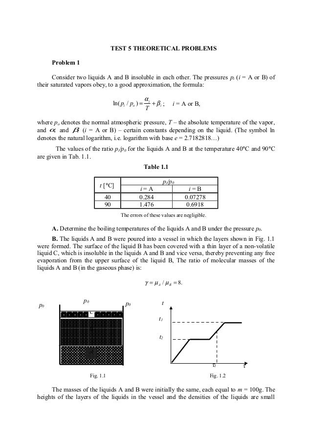 TEST 5 THEORETICAL PROBLEMS Problem 1 Consider two liquids A and B insoluble in each other. The pressures pi (i = A or B) ...