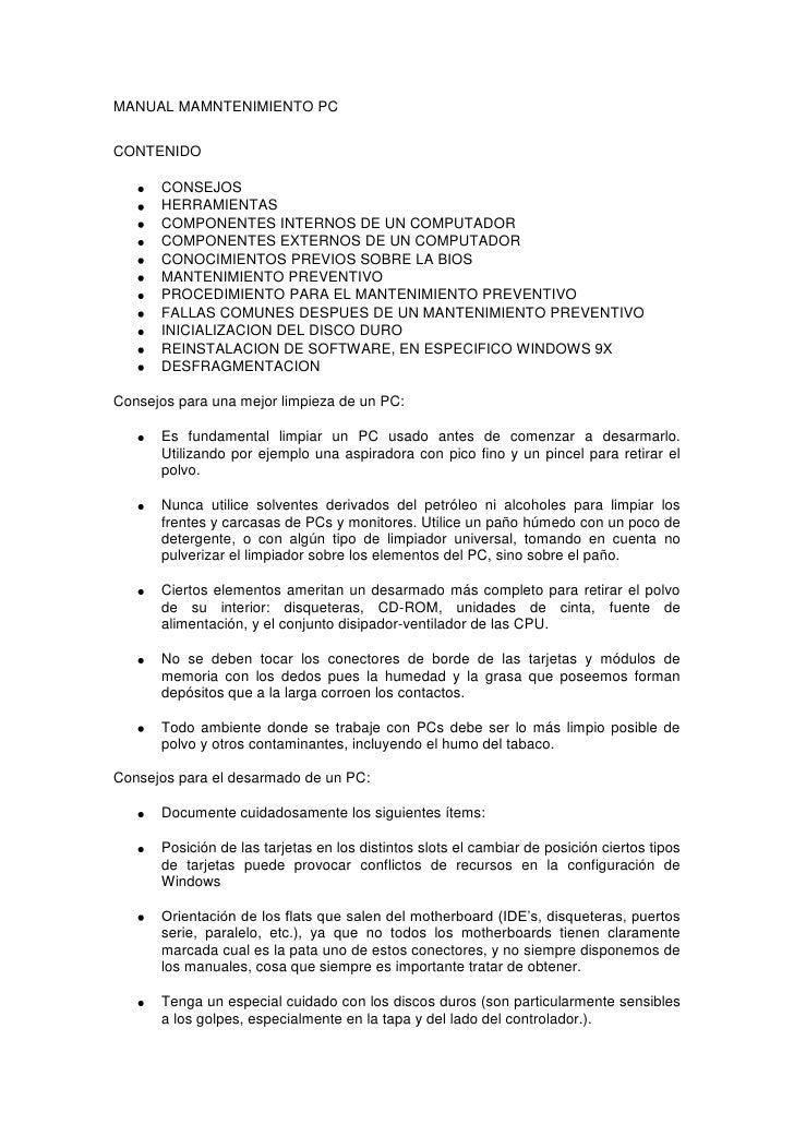 MANUAL MAMNTENIMIENTO PC<br />CONTENIDO<br />CONSEJOS<br />HERRAMIENTAS<br />COMPONENTES INTERNOS DE UN COMPUTADOR<br />CO...