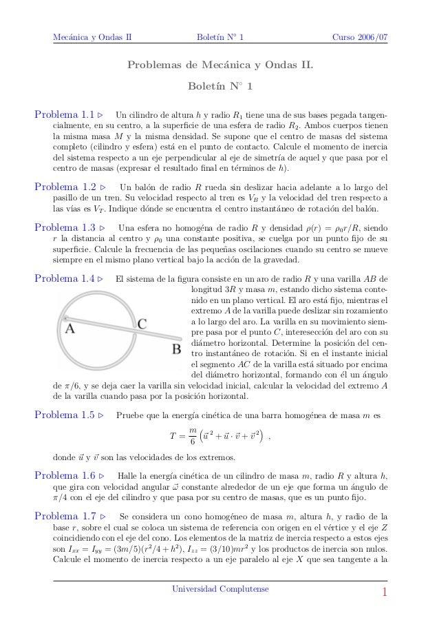 Mec´anica y Ondas II Bolet´ın N◦ 1 Curso 2006/07 Problemas de Mec´anica y Ondas II. Bolet´ın N◦ 1 Problema 1.1 Un cilindro...