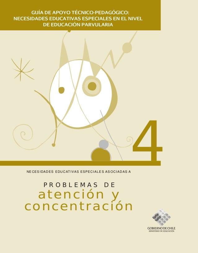 NECESIDADES EDUCATIVAS ESPECIALES ASOCIADAS A 4 atención y concentración P R O B L E M A S D E