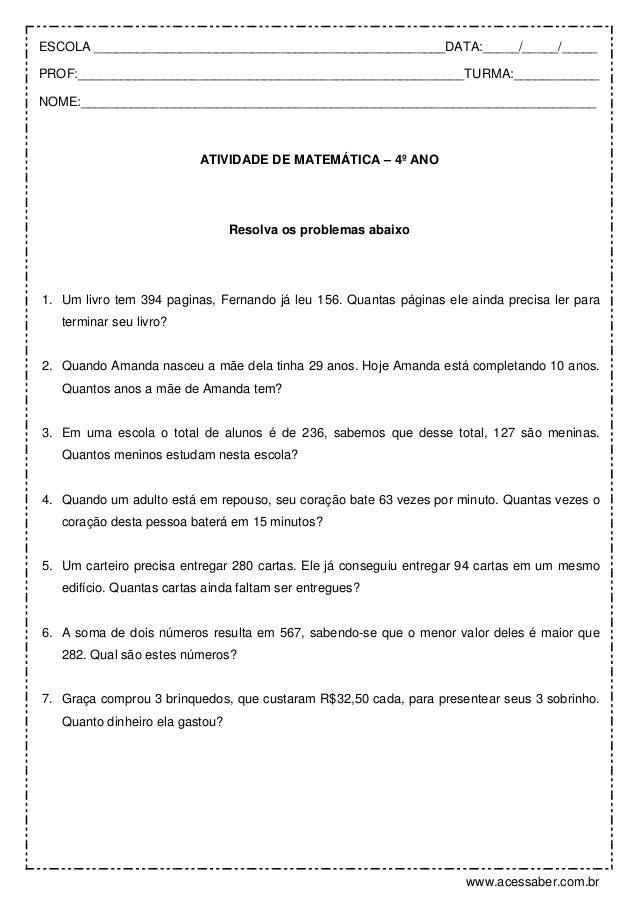 Excepcional Problemas de-matematica-4º-ano MG19