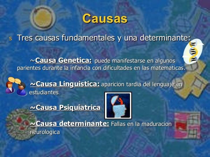 Causas <ul><li>Tres causas fundamentales y una determinante: </li></ul><ul><li>~ Causa Genetica:   puede manifestarse en a...