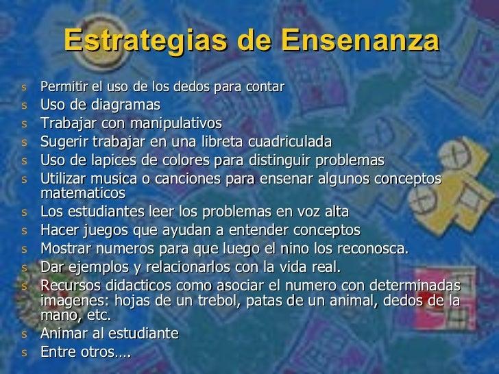Estrategias de Ensenanza <ul><li>Permitir el uso de los dedos para contar </li></ul><ul><li>Uso de diagramas </li></ul><ul...