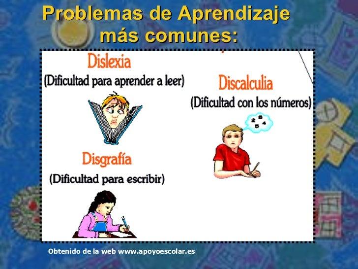 Problemas de Aprendizaje  m á s comunes: Obtenido de la web www.apoyoescolar.es