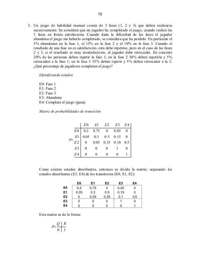 CADENAS DE MARKOV EJERCICIOS RESUELTOS PDF
