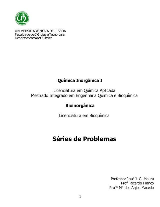 UNIVERSIDADE NOVA DE LISBOAFaculdade de Ciências e TecnologiaDepartamento de Química                            Química In...