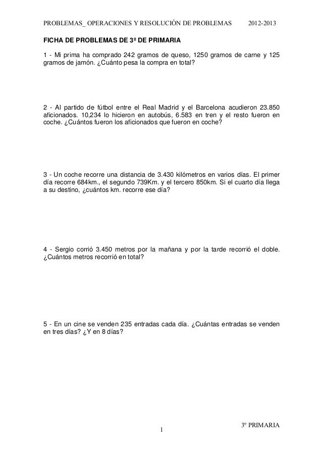 Problemas 3º primaria