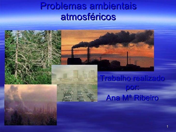 Problemas ambientais atmosféricos Trabalho realizado por: Ana Mª Ribeiro