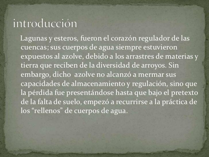 introducción<br />   Lagunas y esteros, fueron el corazón regulador de las cuencas; sus cuerpos de agua siempre estuvieron...