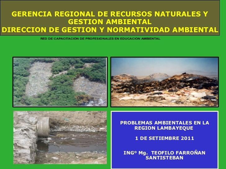 GERENCIA REGIONAL DE RECURSOS NATURALES Y GESTION AMBIENTAL DIRECCION DE GESTION Y NORMATIVIDAD AMBIENTAL PROBLEMAS AMBIEN...