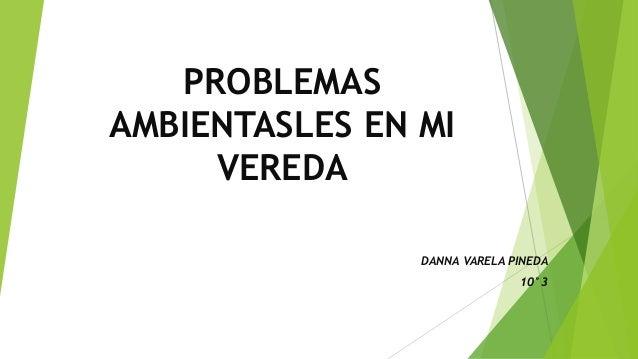 PROBLEMAS AMBIENTASLES EN MI VEREDA DANNA VARELA PINEDA 10°3