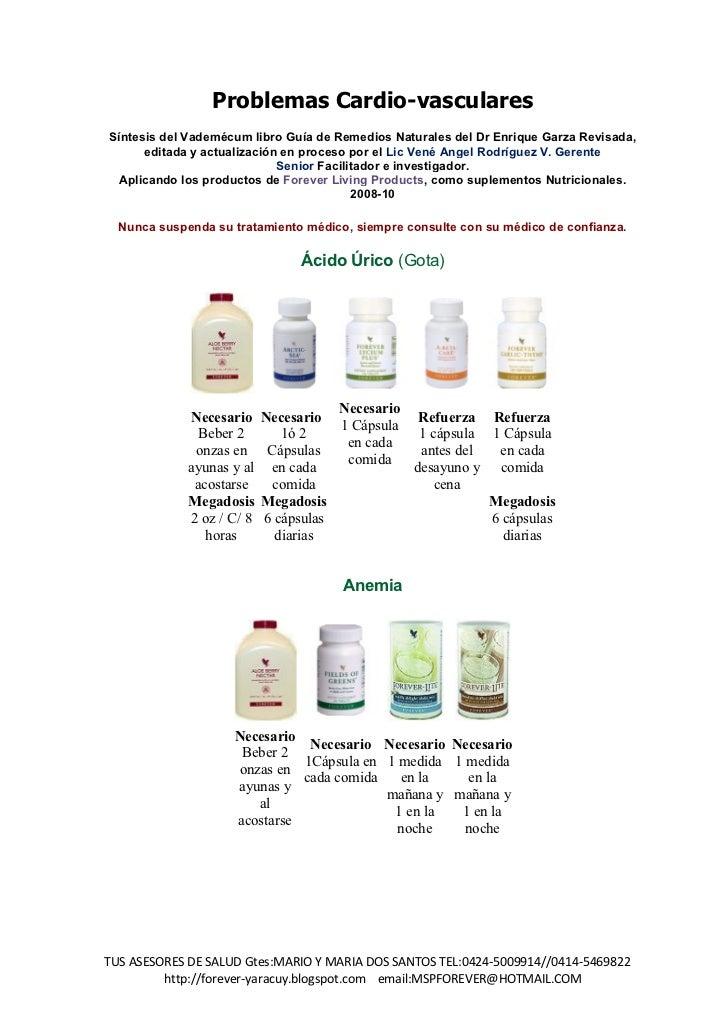 Problemas Cardio-vascularesSíntesis del Vademécum libro Guía de Remedios Naturales del Dr Enrique Garza Revisada,      edi...