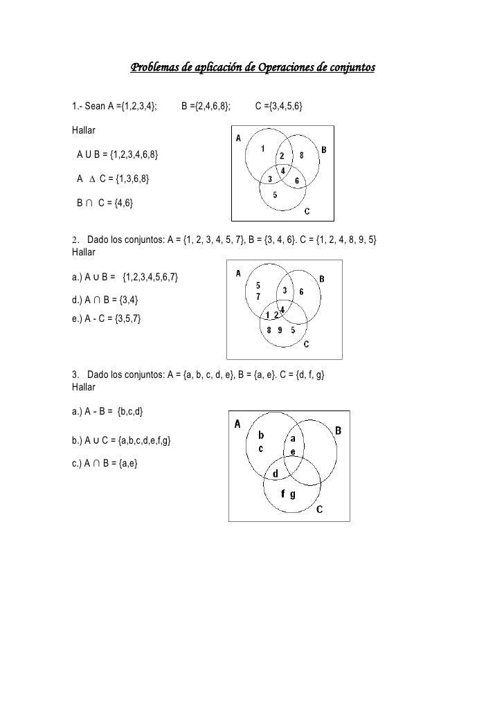 Problemas de aplicación de Operaciones de conjuntos  1.- Sean A ={1,2,3,4};        B ={2,4,6,8};       C ={3,4,5,6}  Halla...