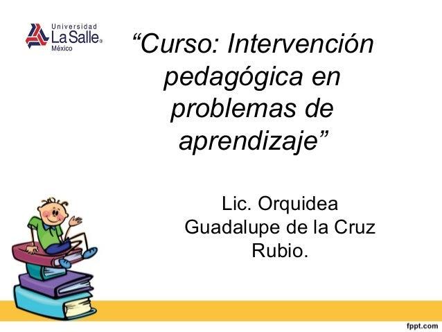 """""""Curso: Intervención pedagógica en problemas de aprendizaje"""" Lic. Orquidea Guadalupe de la Cruz Rubio."""