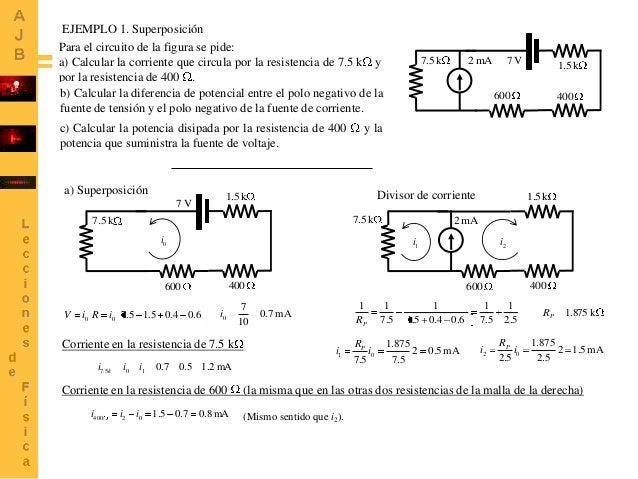 EJEMPLO 1. Superposición Para el circuito de la figura se pide: a) Calcular la corriente que circula por la resistencia de...